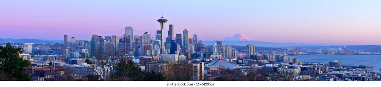 Panoramic View of Seattle Skyline at Dusk