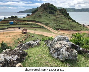 Panoramic view of Seger Beach from the top of the hill in Lombok West Nusa Tenggara, Indonesia