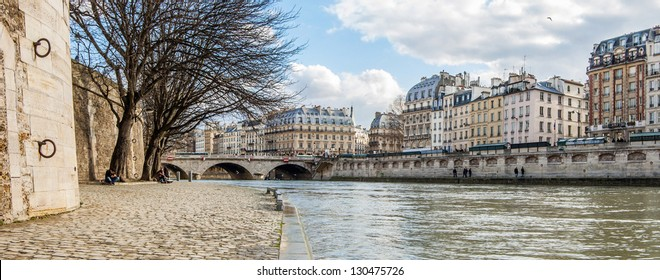 Panoramic view from  the Seine River quay, Paris, France
