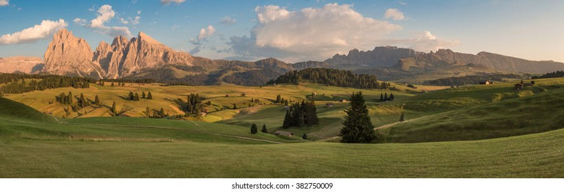 Panoramic View of Seiser Alm with Langkofel, South Tyrol, Italy
