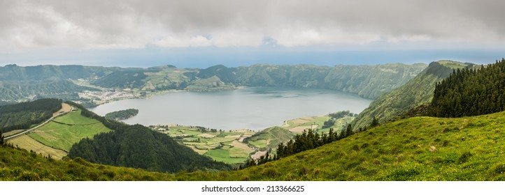 Panoramic view of the Sete Cidades lake, Azores, Portugal, Europe