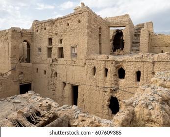 Panoramic view of several ancient mud brick houses ruins in Al Hamra, Oman.
