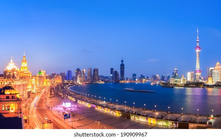 panoramic view of shanghai in a beautiful nightfall ,China