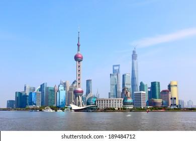Panoramic view of Shanghai skyline, China