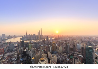 Panoramic view of Shanghai skyline and cityscape at sunrise