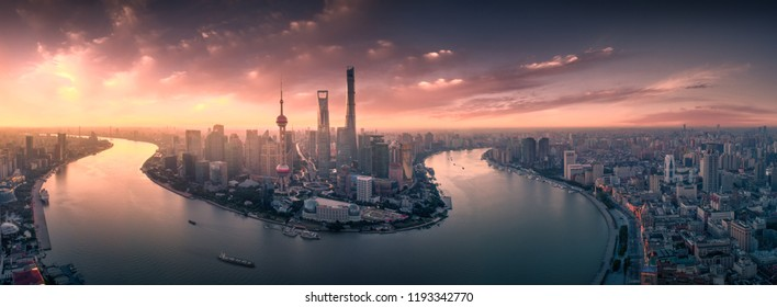 Panoramic View of Shanghai Skyline in sunrise