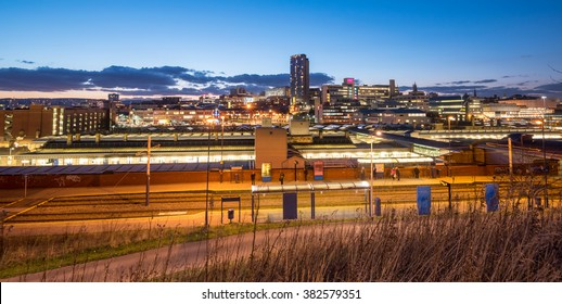 Panoramic view of Sheffield city center and the train station.