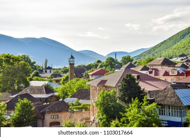 Panoramic view of Sheki, Azerbaijan - a lovely town in the High Caucasus, and one of the most visited city by tourists in the region