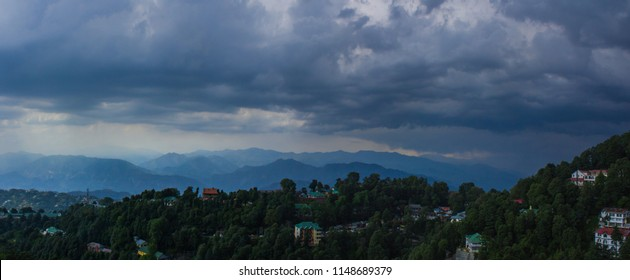 Panoramic view of Shivalik Hills with cloudy overcast, Dalhousie, Himachal Pradesh