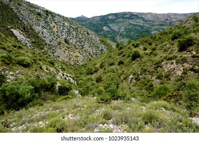 Panoramic view from Sierra del Penon to the El Cocoll mountain, Spain