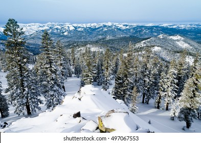 Panoramic view of Sierra Nevada from Mount Pluto at Northstar resort in Califrornia USA