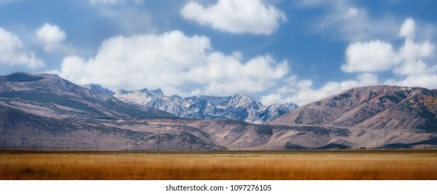Panoramic view of Sierra Nevada mountain range