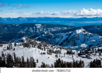 Panoramic view of the Sierra Nevada Mountains and Lake Tahoe from the Squaw Valley Ski Resort, home of the 1960 Winter Olympics, between Truckee and Tahoe City, on a winter day in December