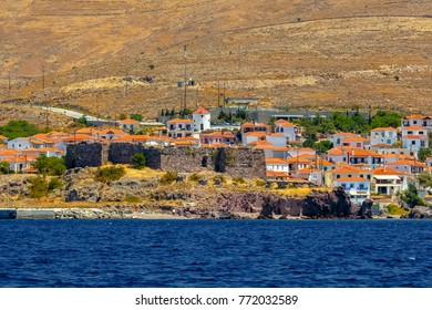 Panoramic view of Sigri village, a fish village at the western part of Lesvos island, Aegean sea, Greece, famous for  the petrified forest findings.