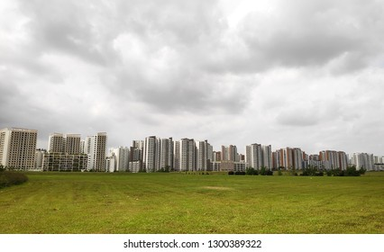 Panoramic view of Singapore Public Housing Apartments in Punggol District, Singapore
