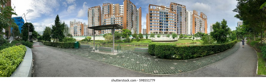 Panoramic view of Singapore Public Housing Apartments in Punggol District, Singapore. Housing Development Board(HDB)