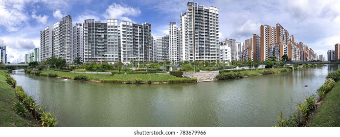 Panoramic view of Singapore Public Housing Apartments in Punggol District, Singapore.