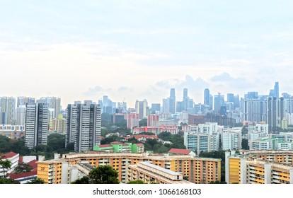 Panoramic View of Singapore's HDB under blue sky