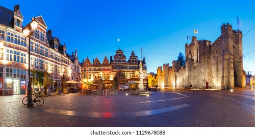 Panoramic view of Sint-Veerleplein, St Veerle's Square, and Gravensteen at night, Ghent, Belgium