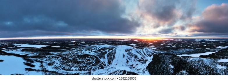 Panoramic view of ski resort in Ruka at sunset, Kuusamo, Finland - Shutterstock ID 1682168035