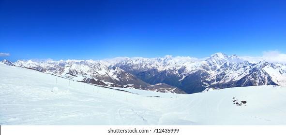 panoramic view from ski slope of the mount Elbrus. Caucasus