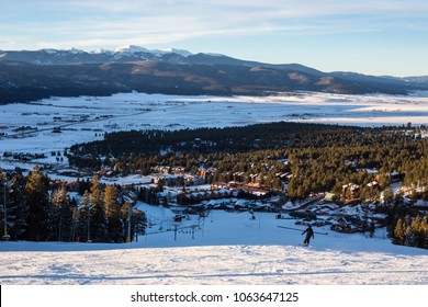 Panoramic View at the ski slopes piste in the mountains of Angel Fire, New Mexico.