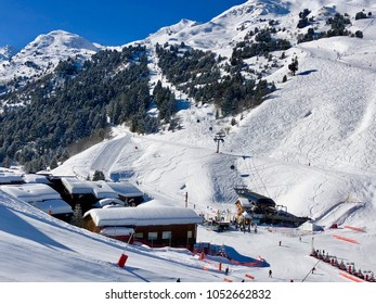 Panoramic view of the ski station Meribel  in the french Alps
