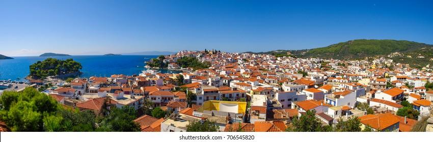 Panoramic view of the Skiathos City, Skiathos Island, Greece