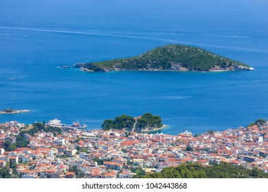 Panoramic view at the Skiathos island, Greece