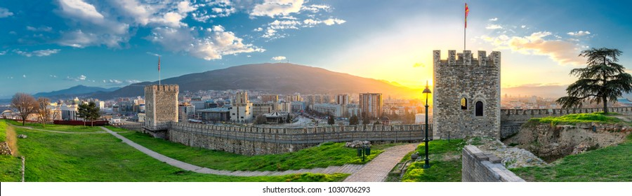 Panoramic view of Skopje from Old fortress