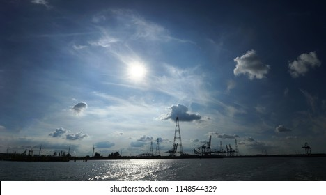 Panoramic view of the sky over the Antwerp Harbor, seen from the river the Schelde