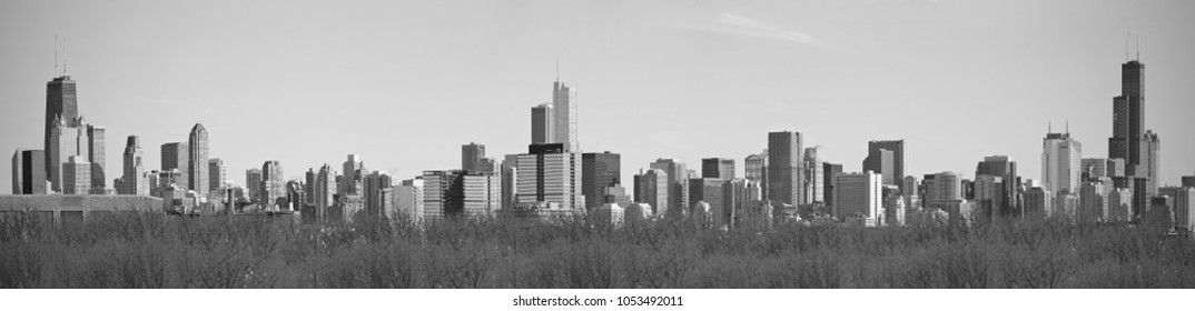 Panoramic view of the Skyline of the city of Chicago, Illinois.