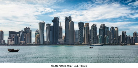 Panoramic view of the skyline of Doha, Qatar, on a sunny day