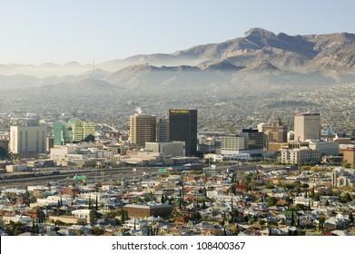 Panoramic view of skyline El Paso Texas looking toward Juarez, Mexico