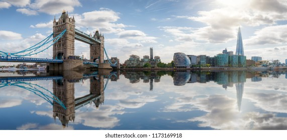 Panoramic view of the skyline of London: from Tower Bridge to London Bridge on a sunny summer day, United Kingdom