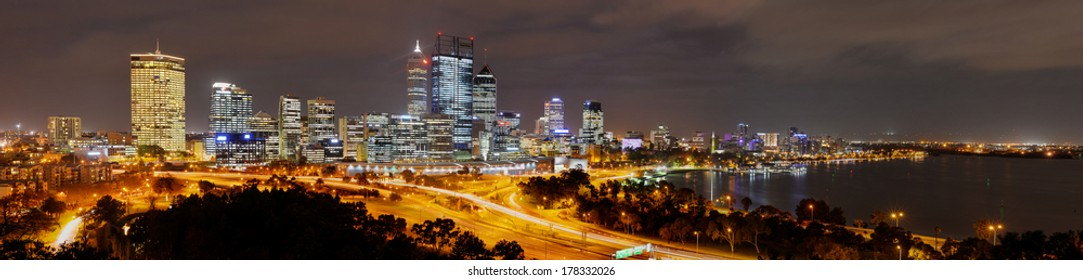 Panoramic view of the Skyline of Perth from Kings Park at night.