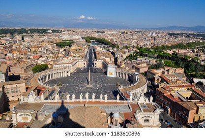 Panoramic view (skyline) or Rome, Italy, from the dome of the famous St Peter's Basilica, a major cathedral in Vatican, with St Peter's Square and Via della Conciliazione