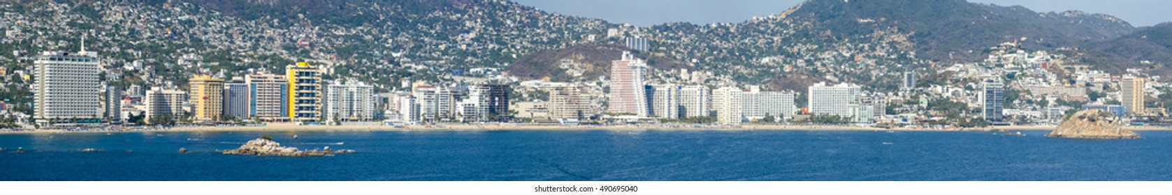 A panoramic view of the skyscraper riviera of Acapulco, Mexico.