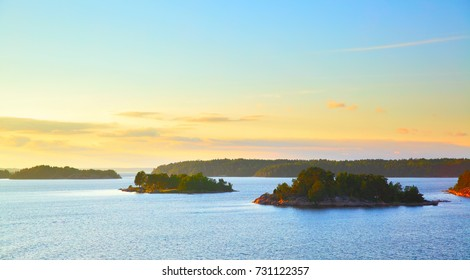 Panoramic view of the small islands in the archipelago of Stockholm at sundown. Sweden.