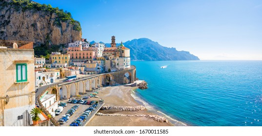 Panoramic view of small town Atrani on Amalfi Coast in province of Salerno, Campania region, Italy. Amalfi coast is popular travel and holyday destination in Italy.  - Shutterstock ID 1670011585