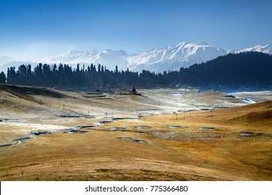 A panoramic view of Snow Covered Himalayan Mountains in Gulmarg, Jammu and Kashmir, India