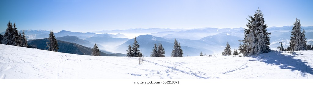 Panoramic View Snowcapped Mountains European Beautiful Winter Snowy High Mountain Panorama