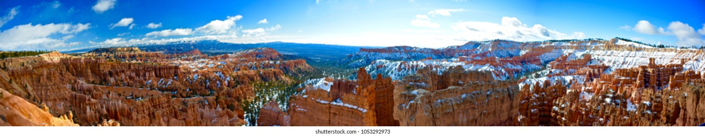 panoramic view of snowy canyon
