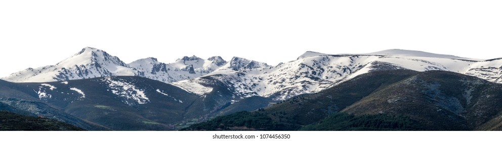 Panoramic view of snowy landscape with virgin snow untouched in a mountain range and peaks isolated over white