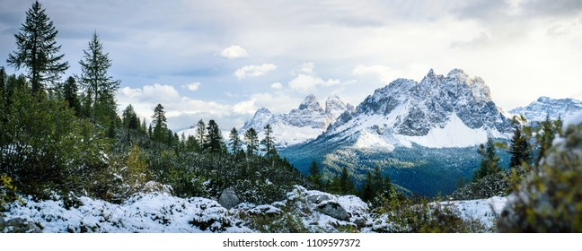 panoramic view of snowy mountain peak in winter, dolomites, italy