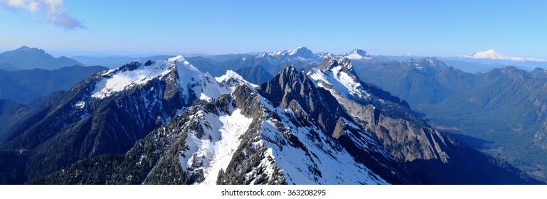 Panoramic View of Snowy Mountains. The Cascade Mountains, Washington