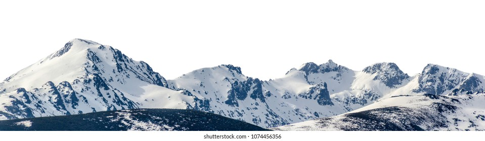 Panoramic view of snowy mountains in a mountain range isolated over white