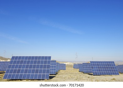 Panoramic view of a solar field to power production