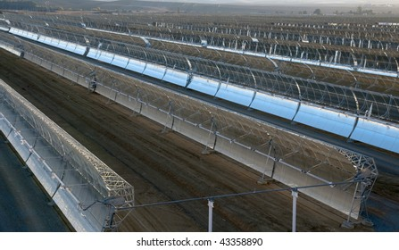 panoramic view of solar parabolic mirrors for producing solar power
