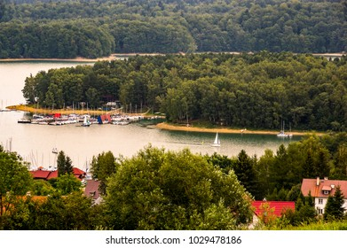 A panoramic view at solina Lake. Poland